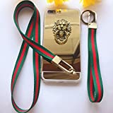 Unique Classical Style Neck Lanyard Hand Wrist Strap with Bronze Hook and Key Ring for Cell Phone, ID Badge Card Holder (With 4.7''iPhone 7 mirror case and Ring holder)