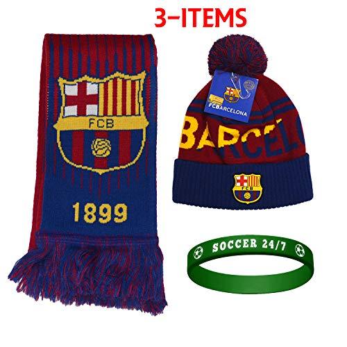 Fc Barcelona Set Beanie Pom Pom Skull Cap Hat and Scarf Reversible Season (ONE Size, - Cap Reversible Skull