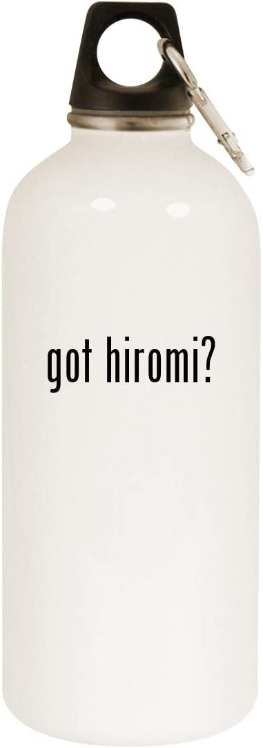 got hiromi? - 20oz Stainless Steel White Water Bottle with Carabiner, White