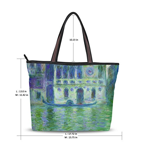Women's polyester for Work Bag Shopping Casual Purse Handbags School Ahomy Monet's Palace Travel Bags Tote Venice Dario Shoulder 4dw0xBq