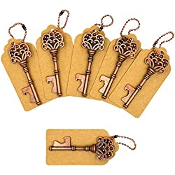 Aiskaer 100 PCS Key Bottle Openers,Vintage Skeleton Key Bottle Opener,Key Bottle Openers Wedding Favors Rustic Decoration with Escort Tag Card- bronze