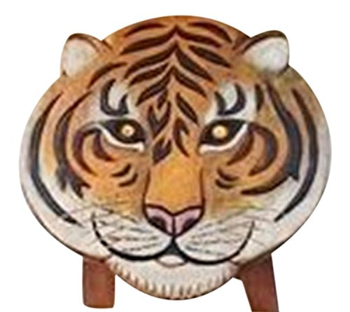 - Painted Safari Tiger Child Bath Hand Carved Wood Bath Kitchen Step Stool