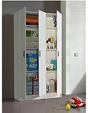 HABITMOBEL Pack de 2 Muebles Armario Multiusos 3 Puertas, Color Blanco, Medidas totales: 182 Alto x 95,7 cm Ancho x 37cm Fondo