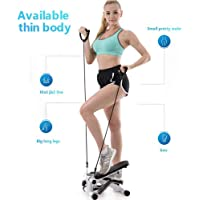 Sampri Mini Stepper,Mini Fitness Exercise Machine-Mini Elliptical Foot Pedal Stepper, Step Trainer Equipment with Resistance Bands Durable & Safe Treadmill and Comfortable Foot Pedals