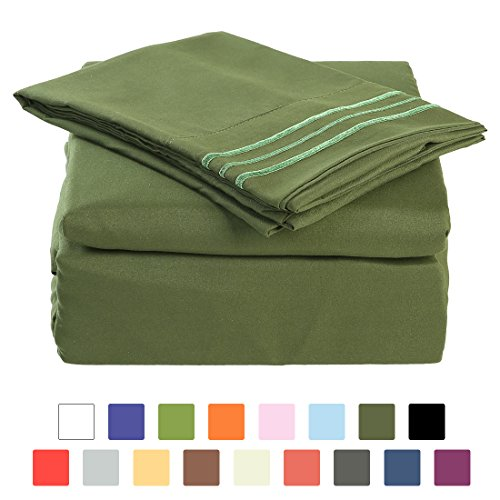 BLC Bed Sheet Set, Hypoallergenic Microfiber 4-piece sheets with 14-Inch Deep Pocket(King, Olive Green) - King Fitted Sheet Olive