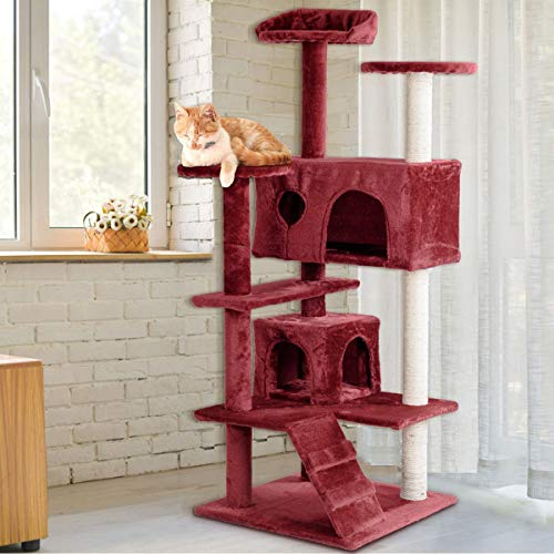 Tangkula Cat Tree, Multi-Level Cat Tree Tower with Scratching Post & Ladder, Pet Furniture Play House Kitten Condo Cat Tower for Kittens, Cats and Pets (52'') (Red)