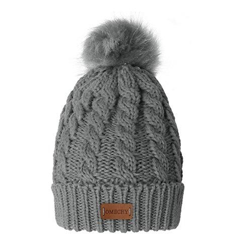 Fleece Chunky Beanie - OMECHY Women's Winter Knit Hat Trendy Slouchy Beanie with Warm Fleece Lining Skull Chunky Soft Thick Cable Ski Cap, Grey