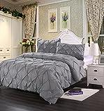 Homehug 1800 Pinch Pleat Puckering Comforter Set, Queen Size, Wrinkle...