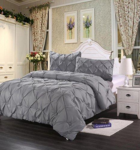 Homehug Pinch Pleat Puckering 1800TC Polyester 3 Piece Comforter Set, Grey
