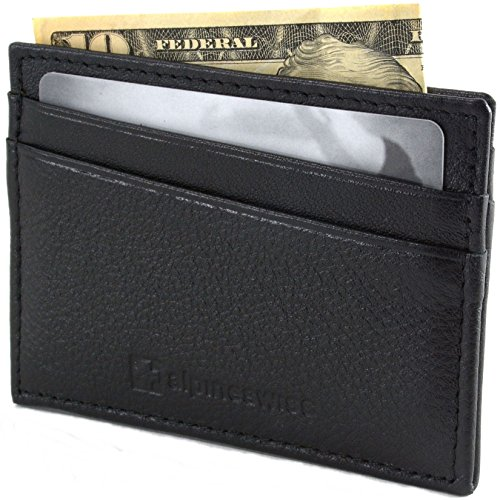 AlpineSwiss Leather Card Case Wallet Slim Super Thin 5 Card