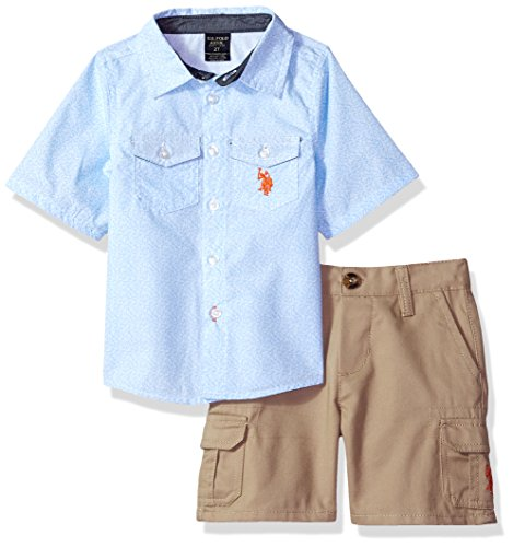 U.S. Polo Assn.. Toddler Boys' Sleeve Woven Shirt and Short Set, Orange Logo Multi Plaid, 2T (Woven Shirt Sleeve)