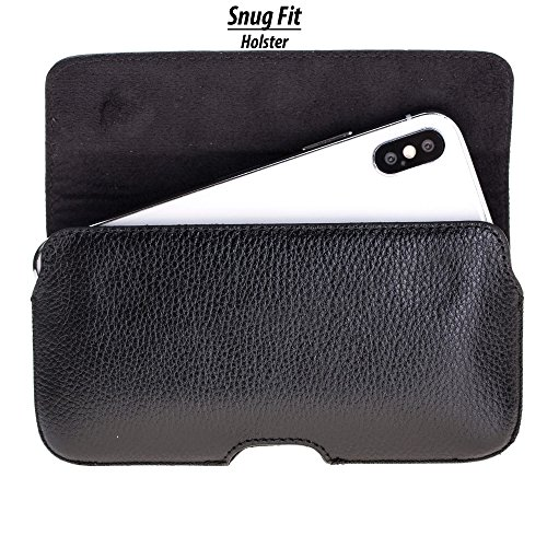 Burkley Case Leather Belt Clip Holster with Magnetic Closure for Apple iPhone X/iPhone Xs | Horizontal Belt Clip Case Made from Genuine Leather (Pebble Black)