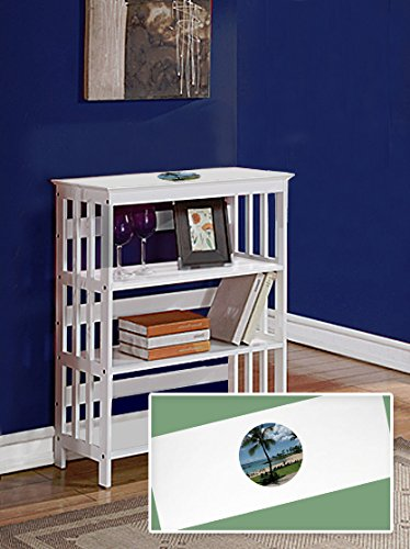 New White Finish Book Shelf Sofa Table featuring Hawaii Beach Logo Theme by The Furniture Cove