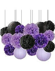 Halloween Party Decorations Paper Lanterns, Tissue Paper Pom Poms Bridal Shower Decoration, 16 Pack Black Lavender Purple Party Decorations