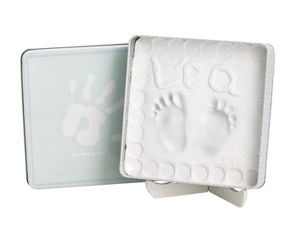 Baby Art Magic Box Scatola Quadrata in Metallo, con Kit Impronta per Calco Gesso di Mani e Piedi del Neonato, Colore Ocean Dorel 34120136