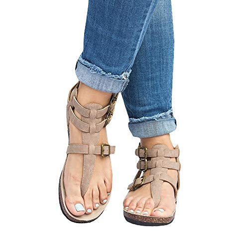 Liyuandian Womens Cross Toe Double Buckle Strap Summer Leather Flat Mayari Sandals (6 US-9.79in(Foot Length)-37 EU, C-Beige) ()