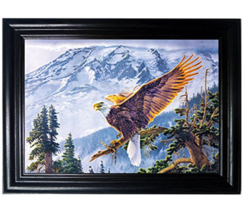 EAGLE FRAMED Wall Art-Lenticular Tecnology Causes The Artwork To Flip-MULTIPLE PICTURES IN ONE-HOLOGRAM Type Images Change--MESMERIZING HOLOGRAPHIC Optical Illusions By THOSE FLIPPING PICTURES