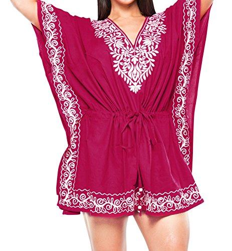 La Leela ray�n delicado bordado de ba�o bikini traje de ba�o ropa de playa de las mujeres cubre para arriba rosado
