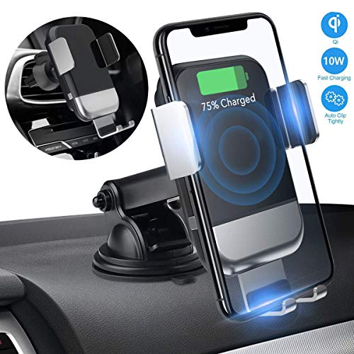 Wireless Car Charger Mount,JIALEBI Automatic Clamping Qi 10W 7.5W Fast Charging 5W Car Mount, Windshield Dashboard Air Vent Phone Holder Compatible with iPhone Xs Max XR 8 Samsung S10 S9 S8 Note 9