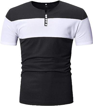 YEBIRAL Camisetas Hombre Manga Corta, Casual Moda Camiseta Rayas Negras y Blancas Deporte Slim Fit T-Shirt Botón Cuello Verano Blusa Tops Deportivos(M, Negro-1): Amazon.es: Ropa y accesorios