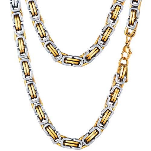 - PROSTEEL 6MM Stainless Steel Necklace for Men Jewelry Vintage Byzantine Chain Link Gold Silver Tone Statement Choker Necklace,18 Inches