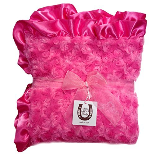 - Max Daniel Designs | Bubble Gum Pink Rosebuds Double-sided Baby Blanket