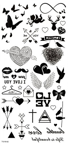- Wonbeauty best and temporary tattoos Butterflies,hearts,arrows,cupid,wings,I LOVE YOU,wings long lasting and realistic temporary tattoos