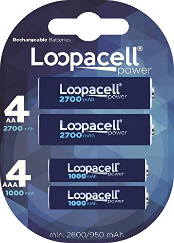 (Loopacell AA 2700mAh 4-Pack Rechargeable Batteries + Free Loopacell AAA 1000mAh 4-Pack Rechargeable Batteries+ Free Battery)