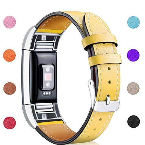 Hotodeal Band Compatible Fitbit Charge 2 Replacement Bands, Classic Genuine Leather Wristband Metal Connectors, Fitness Strap Women Men Small Large Yellow
