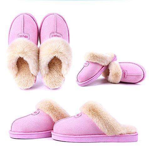 Kenabes Womens Caldo Morbido Interno Casa Pantofola Marrone