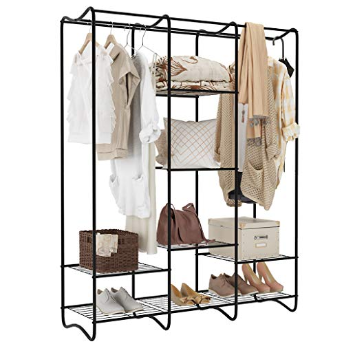 - LANGRIA Large Free-Standing Closet Garment Rack Made of Sturdy Iron with Spacious Storage Space, 8 Shelves, Clothes Hanging Rods, Heavy Duty Clothes Organizer for Bedroom, Entryway (Black)