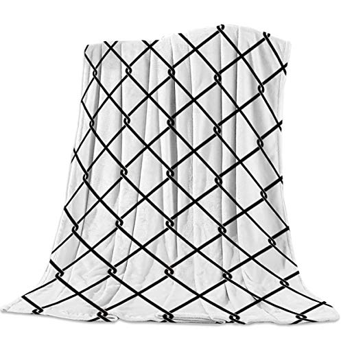Licans Flannel Lightweight Cozy Soft Throw Blanket for Couch Sofa Bed All Season - Modern Geometric Grid Pattern - White (40 x 50 Inches) ()