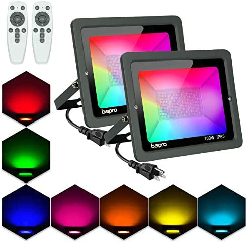 2 Pack 100W RGB LED Flood Light