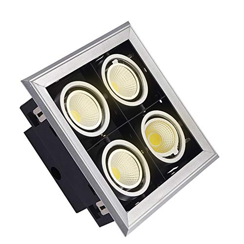 Nickel Matt Ceiling Lamp - Qyyru Downlight Type 7 GU10 White Matt, LED/Halogen, Recessed Ceiling Light, Mounting Frame Aluminium Round Nickel for Living Room Bedroom Kitchen [Energy Class A++]