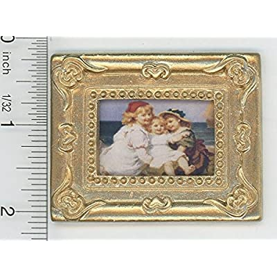Dollhouse Miniature Gold Framed Picture of Victorian Seaside Girls: Toys & Games