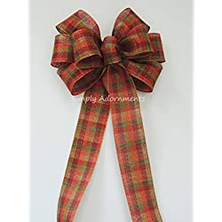 Rustic fall wreath bow Rustic Green Orange Brown fall Plaid Wedding Pew Bow oVineyard Wedding Bow Fall tartan Church Bow Thanksgiving Ceremony Chair Bow
