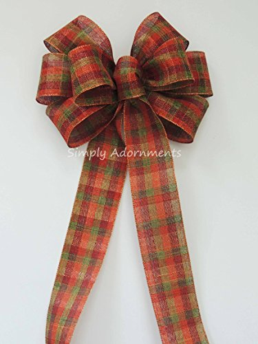 Rustic fall wreath bow Rustic Green Orange Brown fall Plaid Wedding Pew Bow oVineyard Wedding Bow Fall tartan Church Bow Thanksgiving Ceremony Chair Bow ()