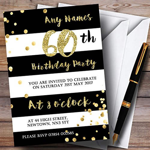 Black & White Stripy Gold Confetti 60th Personalized Birthday Party Invitations