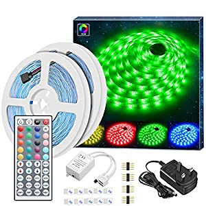 Minger LED Strip Lights Kit, Non-waterproof 2x5m(10m in Total) 5050 RGB 300led Strips Lighting with 12V 3A Power Supply 44 Key IR Remote Ideal for Home,Kitchen Lighting,Christmas Decorations