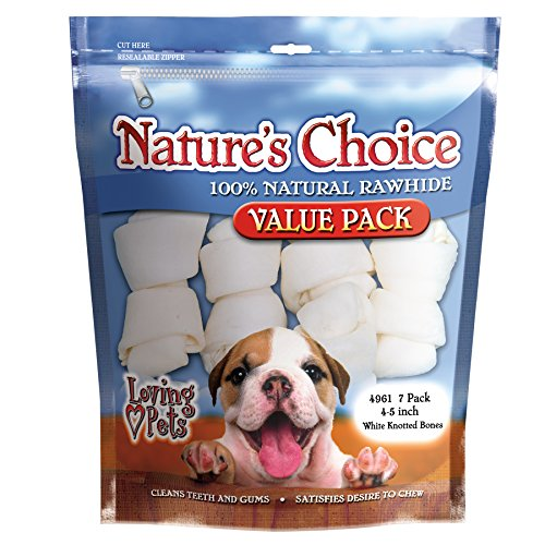 Loving Pets Nature's Choice 100-Percent Natural Rawhide White Knotted Bones Value Pack Dog Treat, 4-5-Inches, 7/Pack - White Rawhide Bones