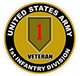 1 Pc Great Fashionable U.S. Army 1st Infantry Division Veteran Stickers Signs Doors Indoor Military Size 4.5