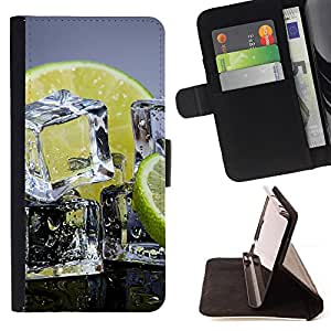 DEVIL CASE - FOR Sony Xperia Z1 Compact D5503 - Ice Cubes Lemon Lime Citrus Fruit Healthy - Style PU Leather Case Wallet Flip Stand Flap Closure Cover