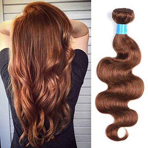 July Queen Brazilian Human Hair Bundles 1 Bundle Light Auburn 100% Unprocessed Virgin Brazilian Hair Body Wave Human Hair Wefts Extensions(20 Inch,Light Auburn #30) ()