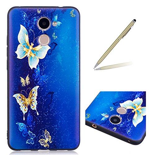 Trumpshop Smartphone Carcasa Funda Protección para Huawei Y5 II [Claro de luna y búho] Serie Talla Ultra Suave Flexibles TPU Silicona Caja Protectora [No compatible con Y5 (2017)] Mariposa Azul