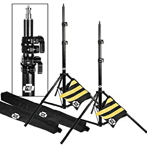 PBL Light Stands 10 Foot, Pro Heavy Duty Spring Cushioned, All Metal Locking Collars, Set of 2 with Carry Bags Black Finish by PBL