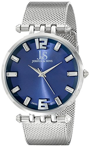 Joshua & Sons Men's JS90BU Silver Swiss Quartz Watch With Blue Dial and Silver Mesh Bracelet