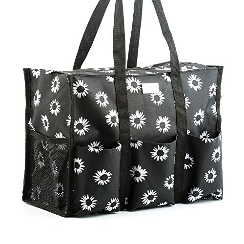 Pursetti Zip-Top Organizing Utility Tote Bag with Multiple Exterior & Interior Pockets for Working Women, Nurses, Teachers and Soccer Moms (Black ()