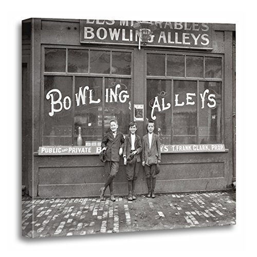 """TORASS Canvas Wall Art Print Pinsetters Bowling Alley 1911 Vintage Massachusetts Artwork for Home Decor 20"""" x 20"""""""