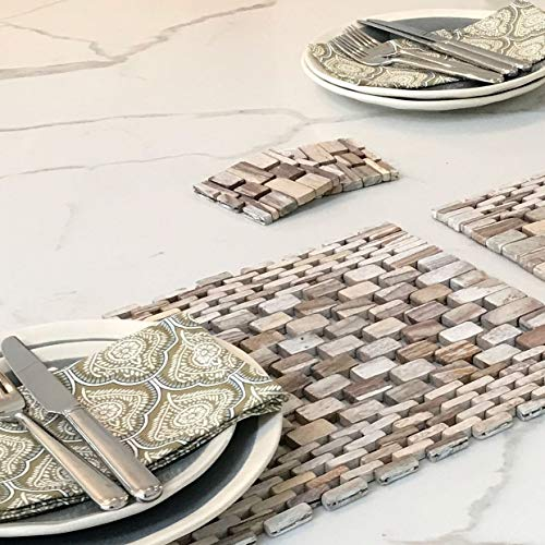- Hip-o Modern Living Rosewood Placemat with White Wash Finish IPM082