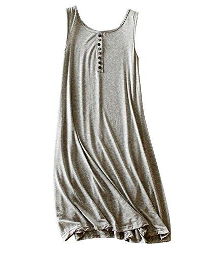 Damen Elegantes Modal Ärmellos Casual Kleid Lockere Midi Strandkleid Sommerkleid Lässige Kleider Hellgrau WM5aQRUc